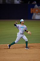 Daytona Tortugas shortstop Jose Garcia (13) throws to first base during a Florida State League game against the Tampa Tarpons on May 18, 2019 at George M. Steinbrenner Field in Tampa, Florida.  Daytona defeated Tampa 7-6.  (Mike Janes/Four Seam Images)