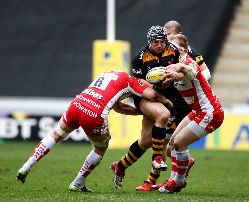 Photo: Richard Lane/Richard Lane Photography. Wasps v Gloucester Rugby. Aviva Premiership. 01/03/2015. Wasps' Carlo Festuccia attacks.