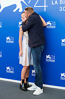 Adele Exarchopoulos and Matthias Schoenaerts during the 'Le Fidèle' photocall at the 74th Venice International Film Festival at the Palazzo del Casino on September 08, 2017 in Venice, Italy