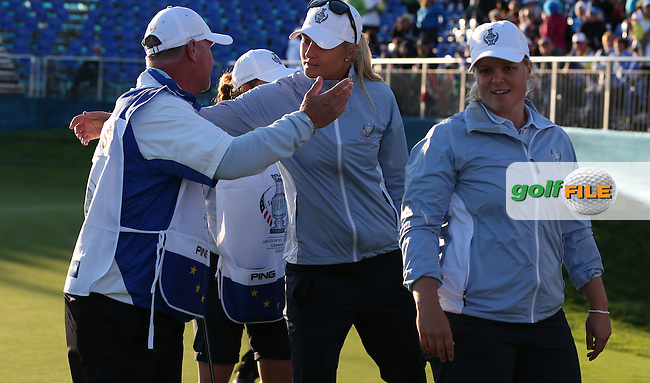 Caroline Hedwall (SWE) and Anna Nordqvist (SWE) win the top match 4&amp;3 during Friday afternoon's Four-balls, at The Solheim Cup 2015 played at Golf Club St. Leon-Rot, Mannheim, Germany.  18/09/2015. Picture: Golffile | David Lloyd<br /> <br /> All photos usage must carry mandatory copyright credit (&copy; Golffile | David Lloyd)