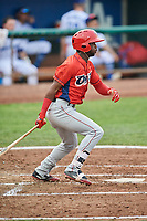 D'Shawn Knowles (4) of the Orem Owlz bats against the Ogden Raptors at Lindquist Field on August 4, 2018 in Ogden, Utah. The Owlz defeated the Raptors 15-12. (Stephen Smith/Four Seam Images)