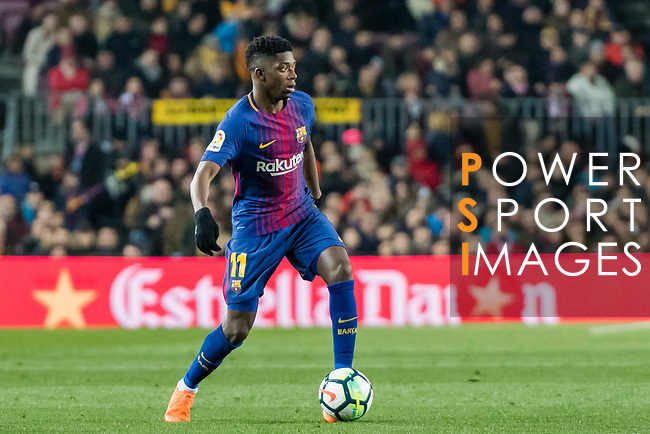 Ousmane Dembele of FC Barcelona in action during the La Liga 2017-18 match between FC Barcelona and Girona FC at Camp Nou on 24 February 2018 in Barcelona, Spain. Photo by Vicens Gimenez / Power Sport Images
