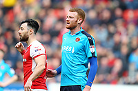 Cian Bolger of Fleetwood Town during the Sky Bet League 1 match between Rotherham United and Fleetwood Town at the New York Stadium, Rotherham, England on 7 April 2018. Photo by Leila Coker.