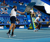 3rd January 2020; RAC Arena, Perth, Western Australia; ATP Cup Australia, Perth, Day 1,; USA v Norway Austin Krajicek of the USA plays a forehand shot during the doubles against team Norway - Editorial Use