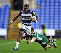 Semesa Rokoduguni of Bath Rugby looks to get past Tom Guest of London Irish. Aviva Premiership match, between London Irish and Bath Rugby on November 7, 2015 at the Madejski Stadium in Reading, England. Photo by: Patrick Khachfe / Onside Images