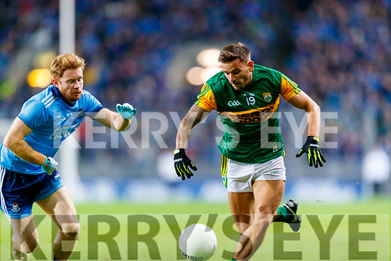 Micheal Burns, Kerry in action against Aaron Byrnes, Dublin during the Allianz Football League Division 1 Round 1 match between Dublin and Kerry at Croke Park on Saturday.