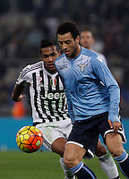 Calcio, Serie A: Lazio vs Juventus. Roma, stadio Olimpico, 4 dicembre 2015.<br /> Lazio&rsquo;s Felipe Anderson, right, is chased by Juventus&rsquo; Alex Sandro during the Italian Serie A football match between Lazio and Juventus at Rome's Olympic stadium, 4 December 2015.<br /> UPDATE IMAGES PRESS/Isabella Bonotto