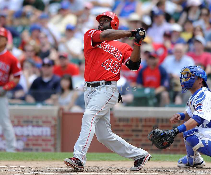 TORII HUNTER, of the Los Angeles Angels, in action during the Angels game against the Chicago Cubs at Wrigley Field in Chicago, IL on June 18, 2010.  ..The Angels won the game 7-6...