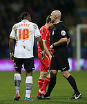 Neil Danns is shown the red car by referee East - FA Cup Fourth Round replay - Bolton Wanderers vs Liverpool - Macron Stadium  - Bolton - England - 4th February 2015 - Picture Simon Bellis/Sportimage