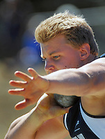 Auckland's Jacko Gill competes in the senior men's shot put on day three of the 2015 National Track and Field Championships at Newtown Park, Wellington, New Zealand on Sunday, 8 March 2015. Photo: Dave Lintott / lintottphoto.co.nz