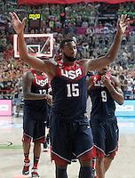 USA's Andre Drummond celebrates during 2014 FIBA Basketball World Cup Quarter-Finals match.September 9,2014.(ALTERPHOTOS/Acero)