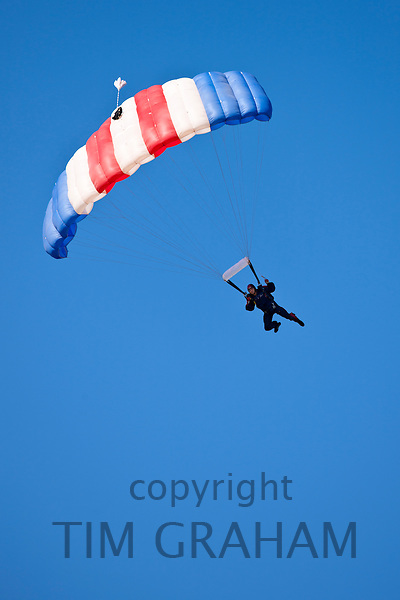 RAF Falcons freefall parachute team taking part in air display at RAF Brize Norton Air Base, UK