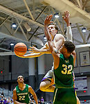 University at Albany men's basketball defeats Binghamton University 71-54  at the  SEFCU Arena, Feb. 27, 2018. Matt Conway (#33) is defended by Thomas Bruce (#32). (Bruce Dudek / Cal Sport Media/Eclipse Sportswire)
