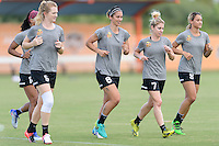Houston, TX - Thursday Oct. 06, 2016: Samantha Mewis, Jessica McDonald, Abby Erceg, McCall Zerboni, Lynn Williams during training prior to the National Women's Soccer League (NWSL) Championship match between the Washington Spirit and the Western New York Flash at BBVA Compass Stadium.