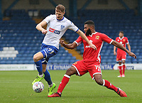 Bury's Michael Smith battles for possession with Milton Keynes Dons' Ethan Ebanks-Landell<br /> <br /> Photographer Juel Miah/CameraSport<br /> <br /> The EFL Sky Bet League One - Bury v Milton Keynes Dons - Saturday 30th September 2017 - Gigg Lane - Bury<br /> <br /> World Copyright &copy; 2017 CameraSport. All rights reserved. 43 Linden Ave. Countesthorpe. Leicester. England. LE8 5PG - Tel: +44 (0) 116 277 4147 - admin@camerasport.com - www.camerasport.com