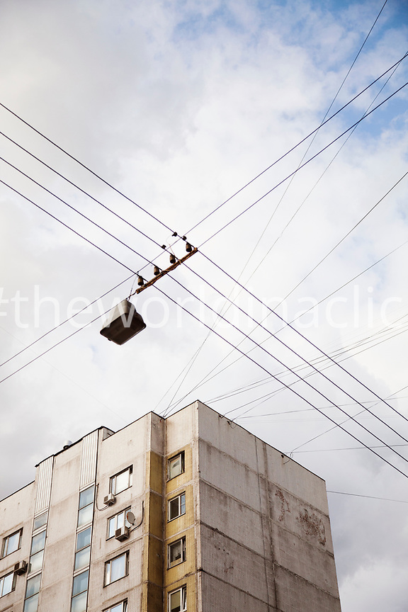 RUSSIA, Moscow. Building view and cables in the city center.