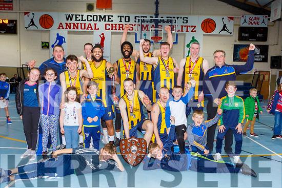 Keanes Supervalu Killorglin celebrate winning Premier Mens final against Tralee Warriors at St Marys Christmas Bastketball blitz on Monday night