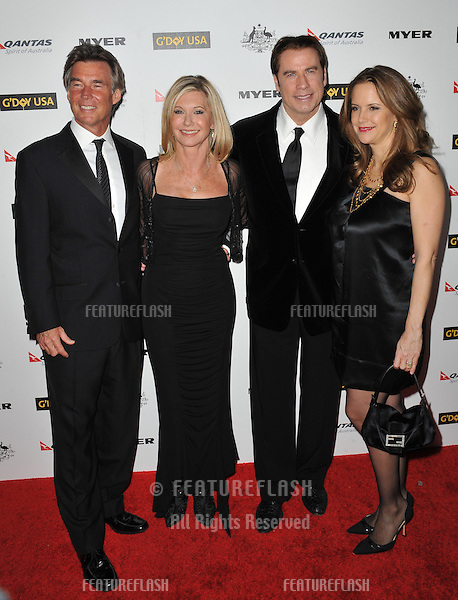 Olivia Newton-John & husband John Easterling (left) with John Travolta & Kelly Preston at the 2011 G'Day USA Black Tie Gala at the Hollywood Palladium..January 22, 2011  Los Angeles, CA.Picture: Paul Smith / Featureflash