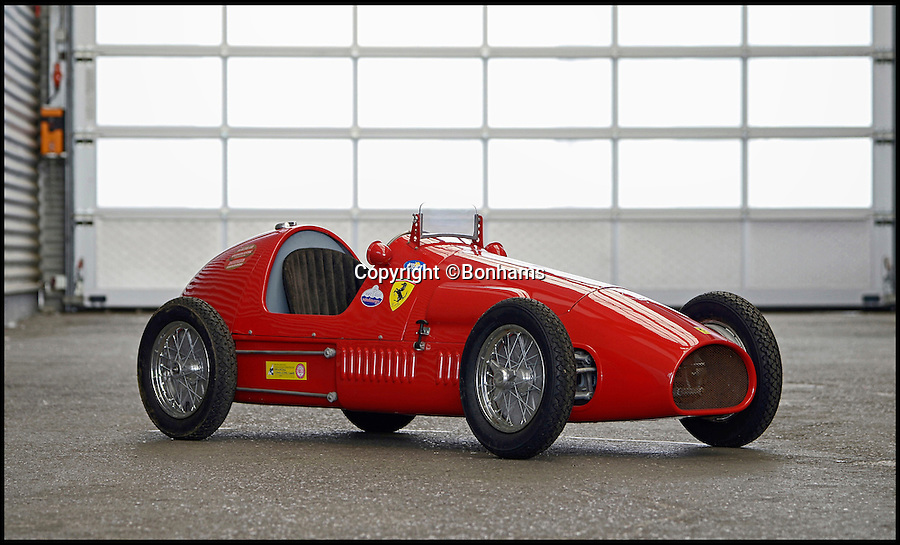 BNPS.co.uk (01202 558833)<br /> Pic: Bonhams/BNPS<br /> <br /> Ferrari '500 F2' Junior Single-Seater estimate £8,500.<br /> <br /> The ultimate boy's toy... <br /> <br /> A selection of fully functional racing car replicas designed for children are set to see people speeding to auction. <br /> <br /> Not many kids can say they got a Ferrari for Christmas but the emergence of three pint-sized sport cars has presented the unusual opportunity. <br /> <br /> Each item in the collection, which includes a Ferrari 500 F2, Ferrari 330 P2 and Maserati 250F are valued at up to £8,500. <br /> <br /> Automatically driven, they are operated with a brake and accelerator and can reach speeds of up to 30mph.