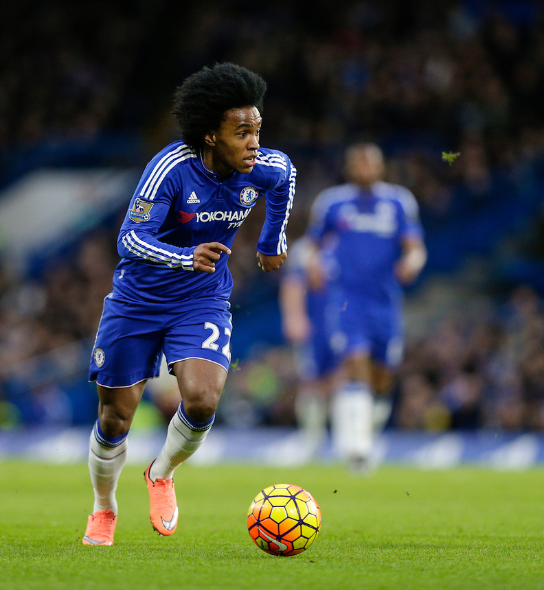 Chelsea's Willian in action during todays match  <br /> <br /> <br /> Photographer Craig Mercer/CameraSport<br /> <br /> Football - Barclays Premiership - Chelsea v Manchester United - Sunday 7th February 2016 - Stamford Bridge - London<br /> <br /> &copy; CameraSport - 43 Linden Ave. Countesthorpe. Leicester. England. LE8 5PG - Tel: +44 (0) 116 277 4147 - admin@camerasport.com - www.camerasport.com