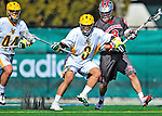 17 March 2012: University of Vermont Catamount Midfielder Ahmad Zachary, a Sophomore from Lower Merion, PA, battles Attackman/Midfielder Mike Mawdsley, a Sophomore from Innisfil, ON, during action against the Sacred Heart University Pioneers at Virtue Field in Burlington, Vermont. The Catamounts defeated the visiting Pioneers 12-11 with only 10 seconds remaining in their non-conference matchup. Mandatory Credit: Ed Wolfstein Photo