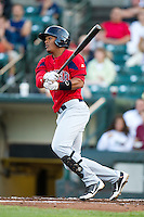 Pawtucket Red Sox first baseman Reynaldo Rodriguez #5 during an International League game against the Rochester Red Wings at Frontier Field on August 11, 2012 in Rochester, New York.  Rochester defeated Pawtucket 5-3.  (Mike Janes/Four Seam Images)