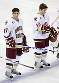 Brian Gibbons (BC - 17), Joe Whitney (BC - 15) - The Boston College Eagles defeated the Merrimack College Warriors 4-3 on Friday, October 30, 2009, at Conte Forum in Chestnut Hill, Massachusetts.