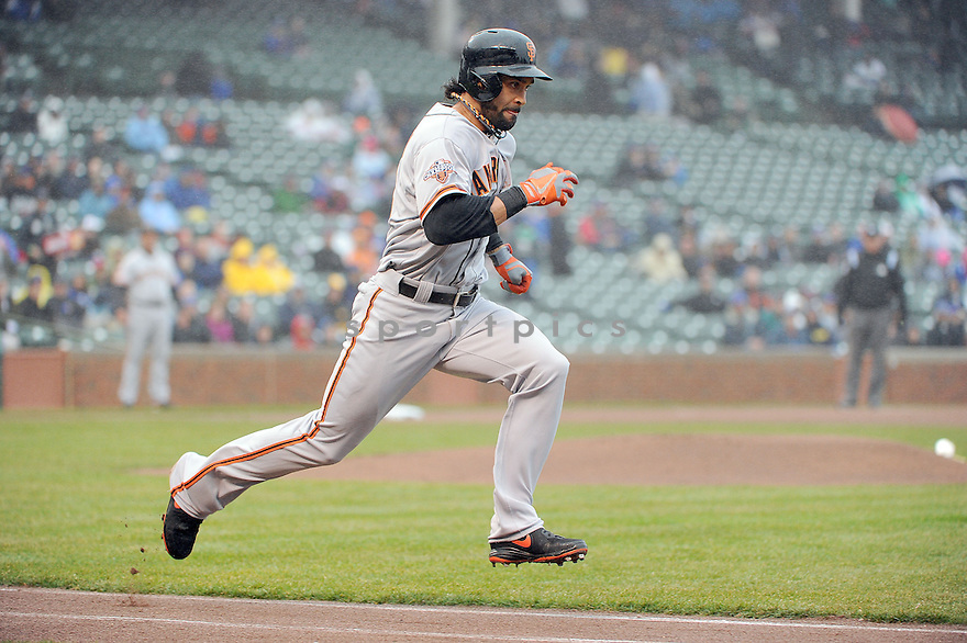 San Francisco Giants Angel Pagan (16) during a game against the Chicago Cubs on April 11, 2013 at Wrigley Field in Chicago, IL. The Giants beat the Cubs 7-6.