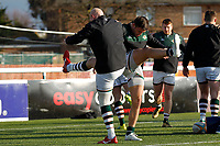 Ealing Trailfinders RFC players stretch during the Championship Cup Quarter Final match between Ealing Trailfinders and Nottingham Rugby at Castle Bar , West Ealing , England  on 2 February 2019. Photo by Carlton Myrie / PRiME Media Images.