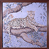 Custom 48 x 48 inch Leopard mosaic panel shown in a high-honed-pillowed finish marble tesserae by New Ravenna.<br /> <br /> For pricing, samples and design help, click here : http://www.newravenna.com/showrooms/