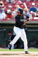Kane County Cougars third baseman Jeimer Candelario (27) at bat during a game against the Quad Cities River Bandits on August 20, 2014 at Third Bank Ballpark in Geneva, Illinois.  Kane County defeated Burlington 7-3.  (Mike Janes/Four Seam Images)