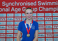 Picture by Allan McKenzie/SWpix.com - 26/11/2017 - Swimming - Swim England Synchronised Swimming National Age Group Championships 2017 - GL1 Leisure Centre, Gloucester, England - Madeleine Staples takes gold in the 12 and under figures.
