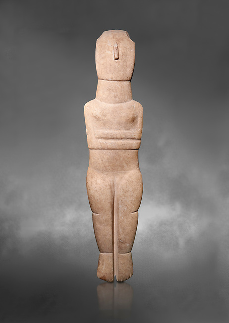 Female Cycladic Canonical type, Spedos variety female figurine statuette. Early Cycladic Period II from Syros phase , (2800-2300 BC). Museum of Cycladic Art Athens,  Against Grey Background. <br /> <br /> Traces of painted decoration in red were found on the face and trunk. The nose was painted completely and four verticle bands are visible in the forehead, three on the neck and traces of bands on the chest and oblique bands on the forearms, seven on the left four on the right.