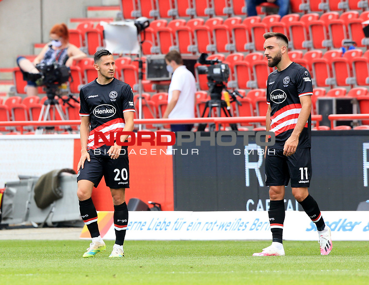 27.06.2020, Stadion an der Wuhlheide, Berlin, GER, DFL, 1.FBL, 1.FC UNION BERLIN  VS. Fortuna Duesseldorf , <br /> DFL  regulations prohibit any use of photographs as image sequences and/or quasi-video<br /> im Bild Steven Skrzybski (Fortuna Duesseldorf #20), Kenan Karaman (Fortuna Duesseldorf #11)<br /> <br />      <br /> Foto © nordphoto / Engler
