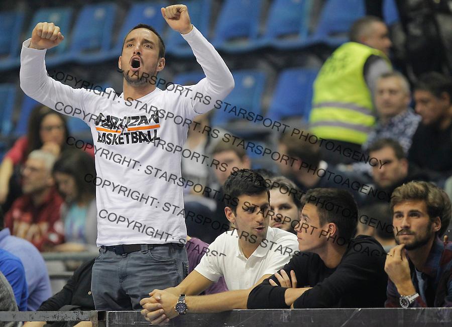 Kosarka ABA League season 2014-2015<br /> Partizan v Crvena Zvezda<br /> Viktor Troicki (L) Novak Djokovic Djordje Djokovic and Marko Djokovic (R)<br /> Beograd, 01.03.2015.<br /> foto: Srdjan Stevanovic/Starsportphoto&copy;