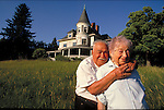 elder couple embracing