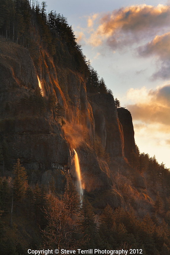 Mist Falls in last light of day in Columbia River Gorge National Scenic Area in Oregon