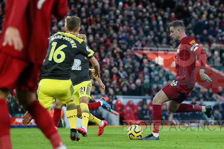 Jordan Henderson of Liverpool scores the second goal of the game during the Premier League match at Anfield, Liverpool. Picture date: 1st February 2020. Picture credit should read: James Wilson/Sportimage