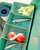 USA, Florida, tackle box with lewers, elevated view, Islamorada