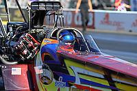 Feb 12, 2016; Pomona, CA, USA; NHRA top fuel driver Steve Faria during qualifying for the Winternationals at Auto Club Raceway at Pomona. Mandatory Credit: Mark J. Rebilas-USA TODAY Sports