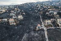 Pictured: Aerial picture showing the scale of the disaster in the Mati and Neos Voutzas areas, Rafina Greece.<br /> Re: Deaths caused by wild forest fires throughout Greece.
