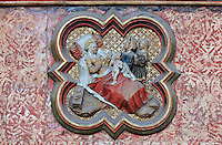 The nativity of St John, plaque on the North side of the Gothic choir screen, 1490-1530, commissioned by canon Adrien de Henencourt and made by the sculptor Antoine Ancquier, depicting the life of St John the Baptist, at the Basilique Cathedrale Notre-Dame d'Amiens or Cathedral Basilica of Our Lady of Amiens, built 1220-70 in Gothic style, Amiens, Picardy, France. Amiens Cathedral was listed as a UNESCO World Heritage Site in 1981. Picture by Manuel Cohen