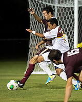 The Winthrop University Eagles played the College of Charleston Cougars at Eagles Field in Rock Hill, SC.  College of Charleston broke the 1-1 tie with a goal in the 88th minute to win 2-1.  C.J. Miller (5), Connor Coons (17)