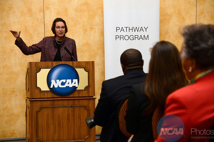 Keynote speaker Anne Ponder, of the University of North Carolina Asheville, speaks Pathway Program Dinner and Graduation during the 2013 NCAA Convention at the the Gaylord Texan Hotel in Grapevine, TX, Tuesday, January 15, 2013. (Peter Lockley/NCAA Photos).Pictured: Anne Ponder