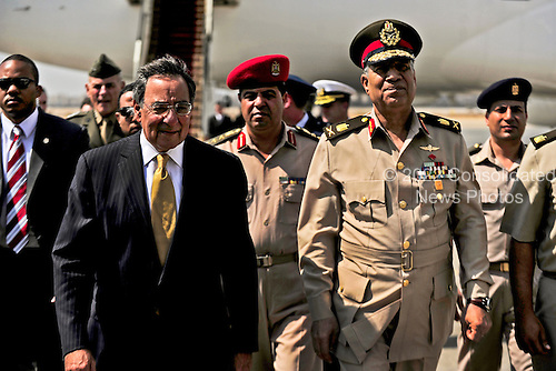 United States Secretary of Defense Leon Panetta is greeted by Egyptian Major General Rouini upon arriving in Cairo, Egypt, October 4, 2011..Mandatory Credit: Jacob N. Bailey / USAF via CNP
