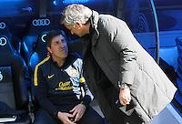 MADRI, ESPANHA, 02 MARÇO 2013 - CAMPEONATO ESPANHOL - REAL MADRID X BARCELONA - Jordi Roura (E) treinador interino do Barcelona e José Mourinho do  Real Madrid  em partida pela 26 rodada do Campeonato Espanhol, neste sabado, 02. (FOTO: ALEX CID-FUENTES / ALFAQUI / BRAZIL PHOTO PRESS).