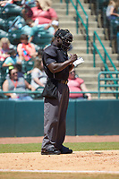 Home plate umpire James Jean takes notes during the South Atlantic League game between the Charleston RiverDogs and the Hickory Crawdads at L.P. Frans Stadium on May 13, 2019 in Hickory, North Carolina. The Crawdads defeated the RiverDogs 7-5. (Brian Westerholt/Four Seam Images)