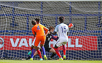 Goalkeeper Aynsley Pears of England is beaten by Justin Hoogma (4) of Holland during the International match between England U19 and Netherlands U19 at New Bucks Head, Telford, England on 1 September 2016. Photo by Andy Rowland.