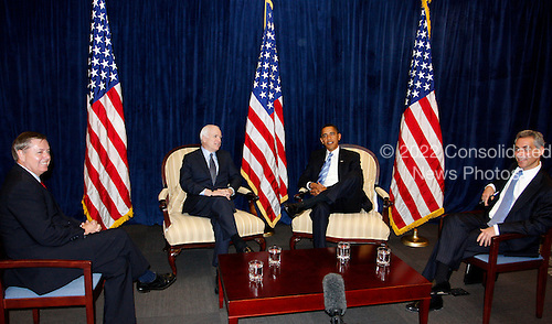 Chicago, IL - November 17, 2008 -- United States President-elect  Barack Obama (center right), meets with former Republican presidential candidate United States Senator John McCain (Republican of Arizona), center left, United States Senator Lindsey Graham (Republican of South Carolina), left and Obama's Chief of Staff Rohm Emanuel (right) at Obama's transition office Monday, November 17, 2008, in Chicago, Illinois..Credit: Frank Polich - Pool via CNP