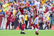 Landover, MD - September 23, 2018: Washington Redskins tight end Jordan Reed (86) celebrates a first down during game between the Green Bay Packers and the Washington Redskins at FedEx Field in Landover, MD. The Redskins get the win 31-17 over the visiting Packers. (Photo by Phillip Peters/Media Images International)